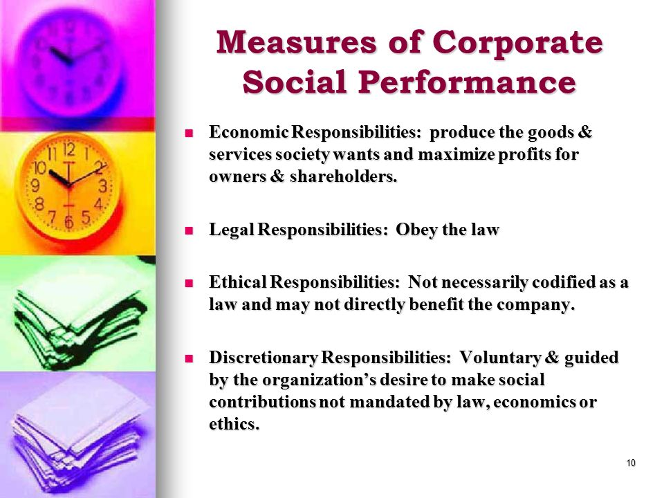 Measures of Corporate Social Performance