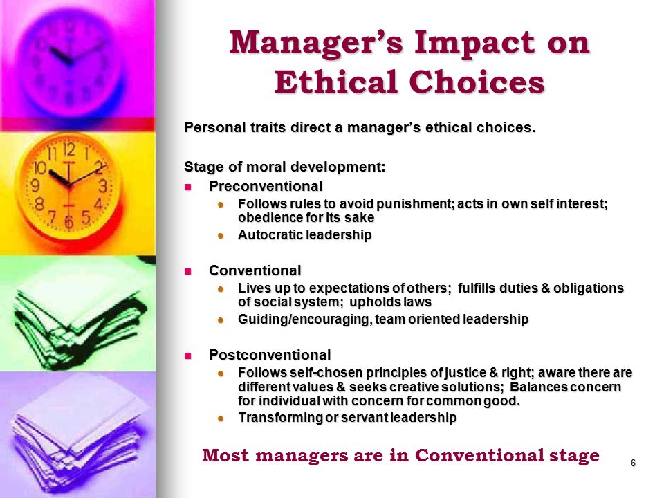 Manager's Impact on Ethical Choices