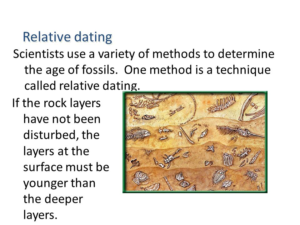 Name two methods of dating fossils