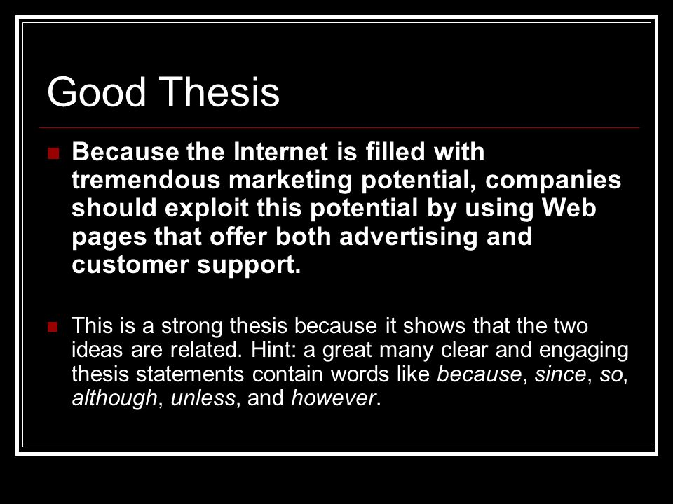 good thesis statement about advertising Thesis statement examples is a compilation of a list of sample thesis statement so you can have an idea how to write a thesis statement.