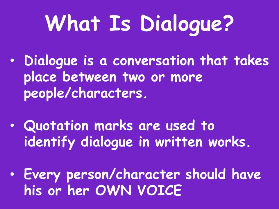 dialogue essay for 2 person I'm writing an essay and i need to quote a conversation between two characters  ex) i didn't do it,said  if you cite a passage of dialogue of four lines or more,  follow the rule for offset quotation, but  quote one, verb person.
