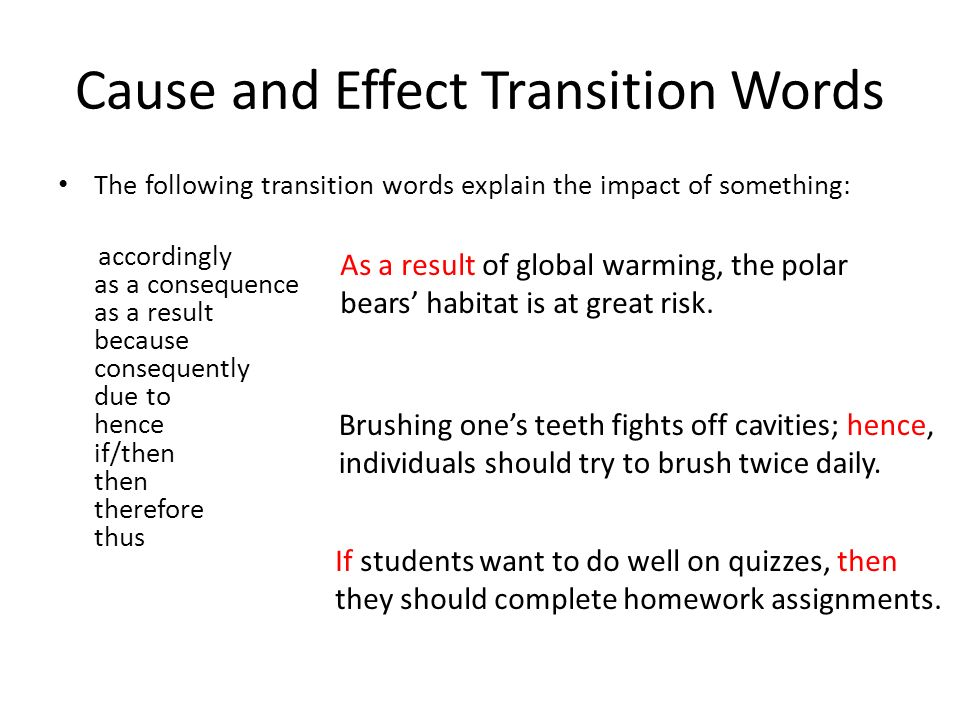 transition words effect essay Keep your ideas clear and logical with the right transition words for essays this list of 97 transitions helps you find the right word for every situation.