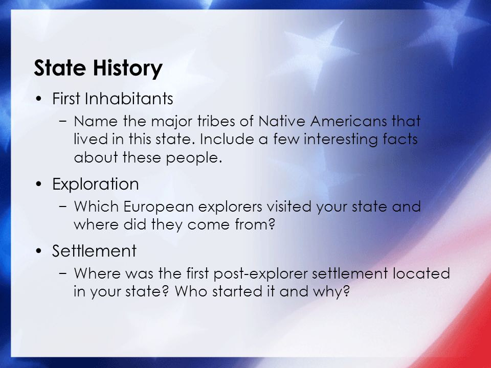 State History First Inhabitants Exploration Settlement