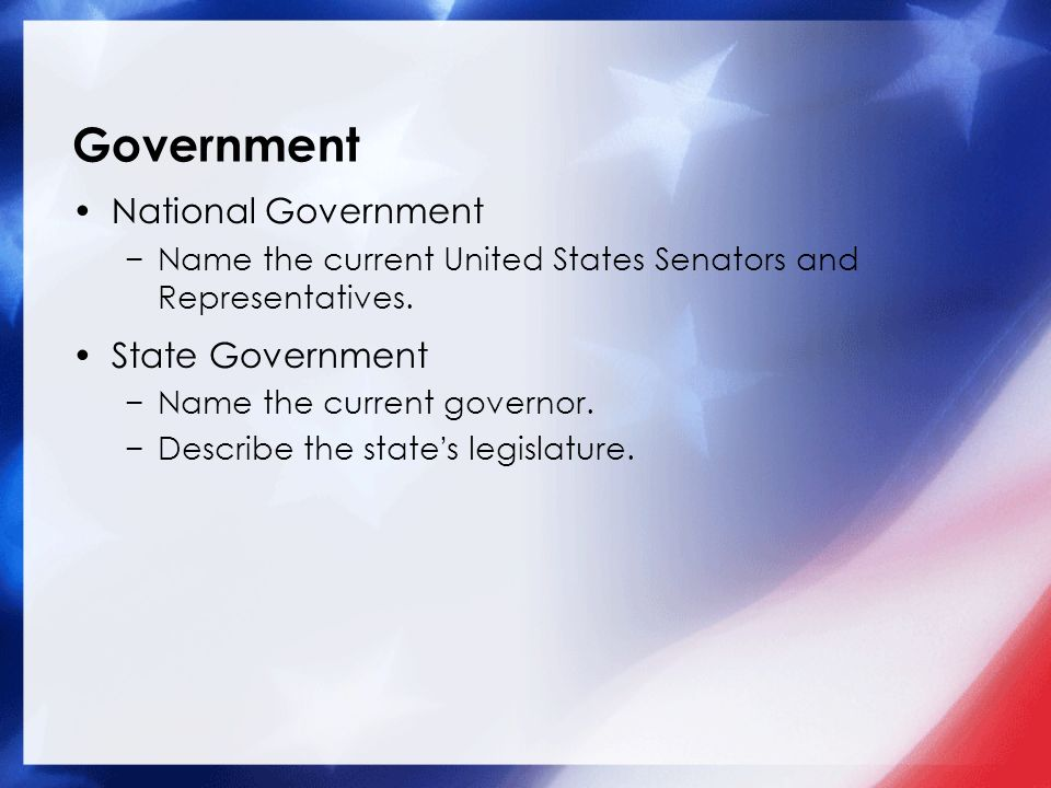 Government National Government State Government