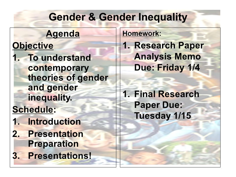 essays on gender inequality Find gender inequality example essays, research papers, term papers, case studies or speeches name : mohamad azharengl 101 : section 5classification essay27.
