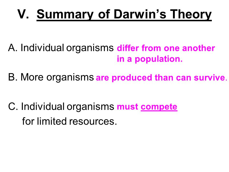 an overview of darwins theory of evolution A brief summary of lamarck's theory of evolution lamarck's theory of evolution, also known as lamarckism, provides a historical context to the currently prevalent concept of genetic inheritance jean-baptiste lamarck was the first to postulate a coherent evolutionary theory about the drivers/ forces of evolution.