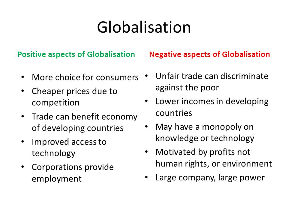 globalization can have a negative impact It is very important to strike balance between the positives and negatives of globalization so that balance can be restored in nature and its living species.