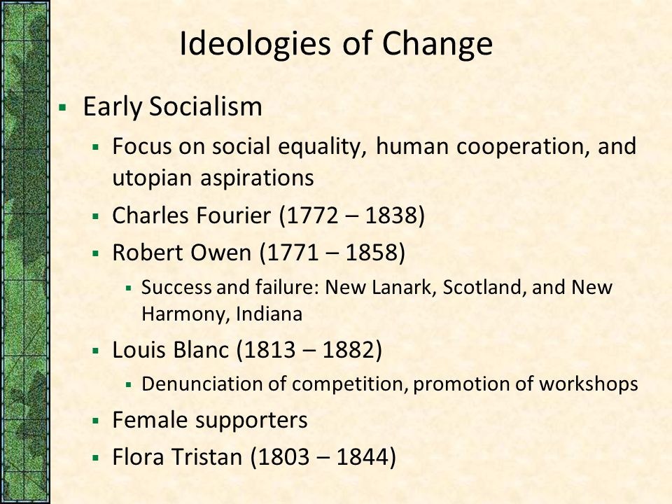 Ideology of liberalism nationalism and early utopian socialism essay
