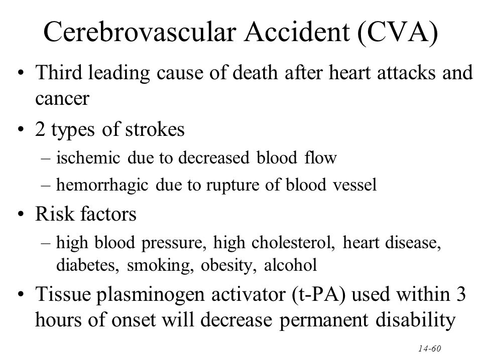 causes and types of cerebrovascular accidents cva The symptoms of a stroke usually begin suddenly but sometimes develop over  hours or days, depending upon the type of stroke in both.