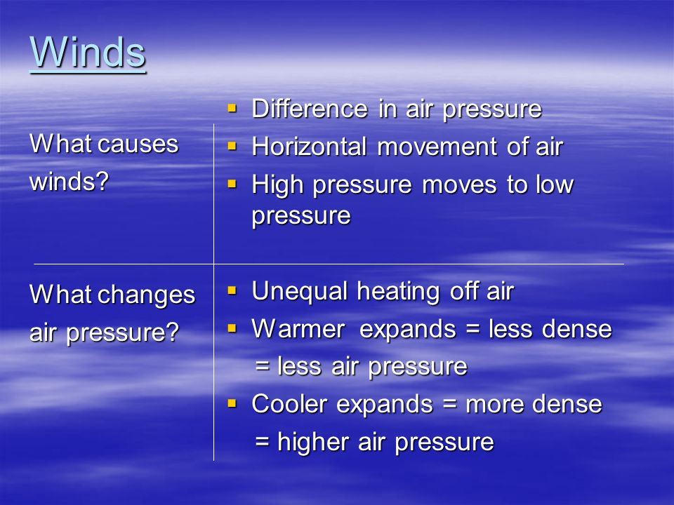 Winds Difference in air pressure Horizontal movement of air - ppt ...