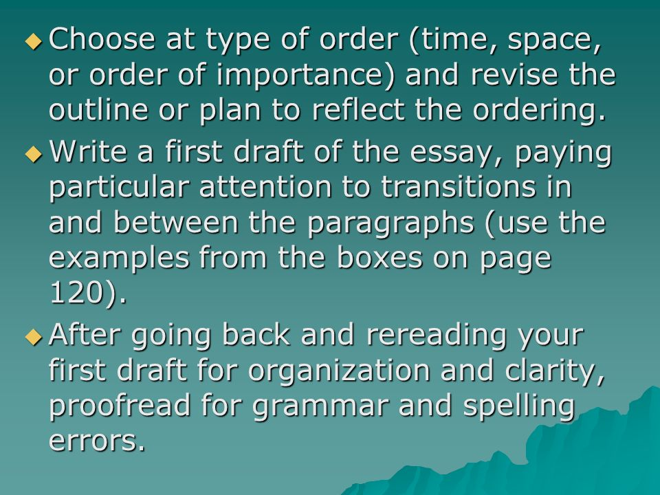 Space order of an essay