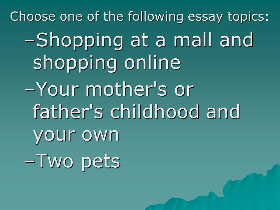 Opinion or descriptive essay on shopping malls