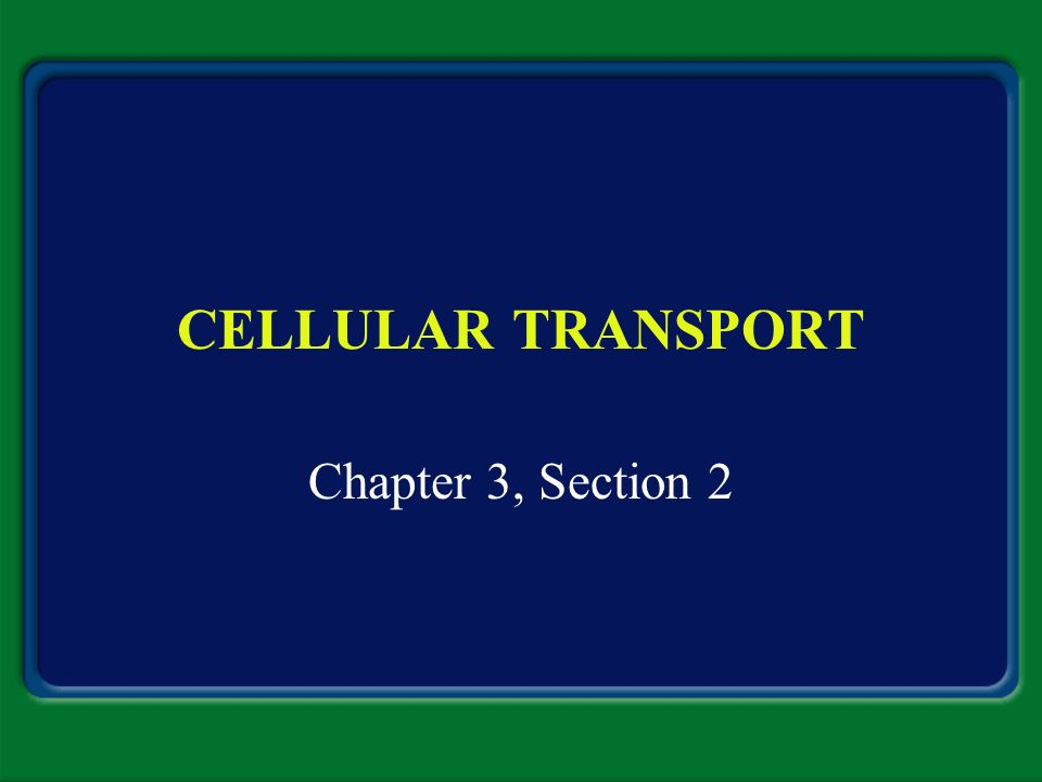 CELLULAR TRANSPORT Chapter 3, Section 2