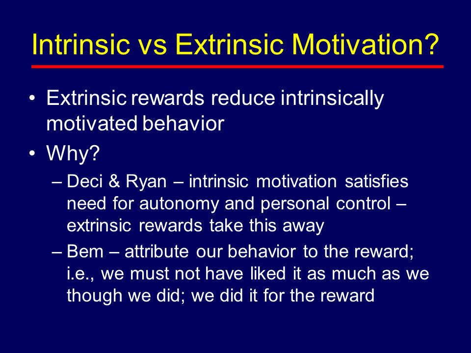 An analysis of the intrinsically motivated by education