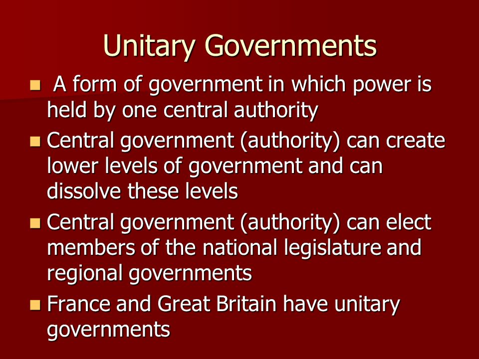Unitary, Federal, and Confederation Governments - ppt download