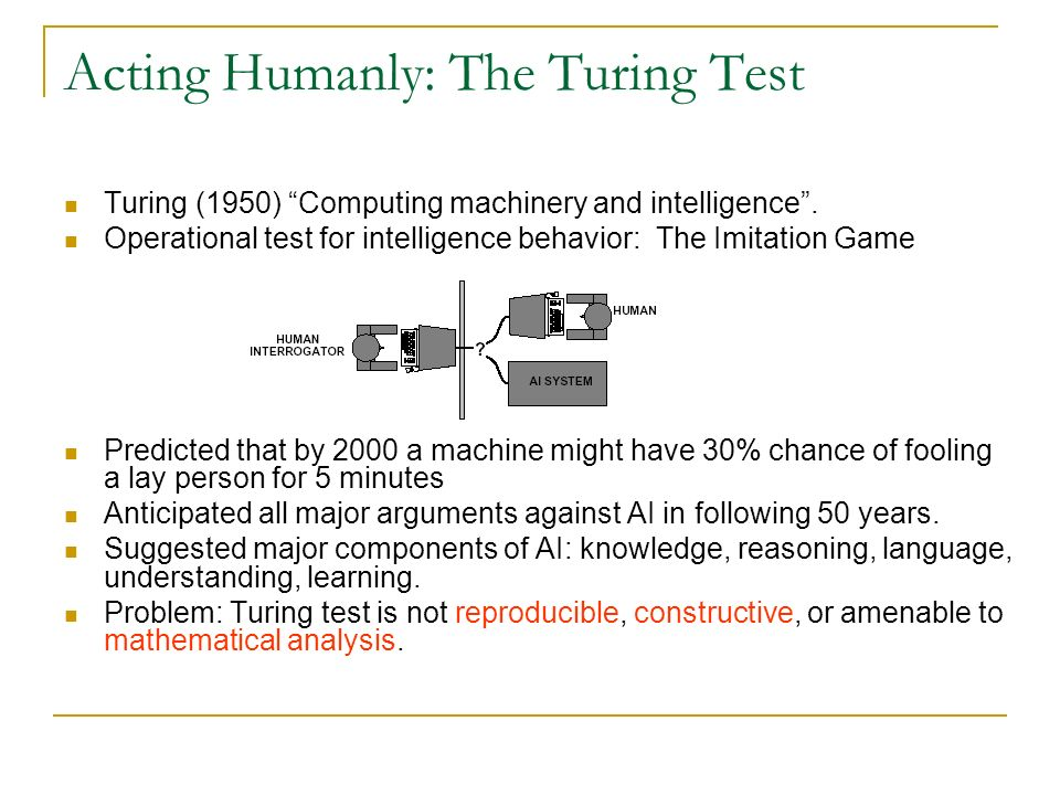 an analysis on artificial intelligence and the turing test Artificial intelligence moderate successes related to affective computing include textual sentiment analysis and  in contrast to the standard turing test.