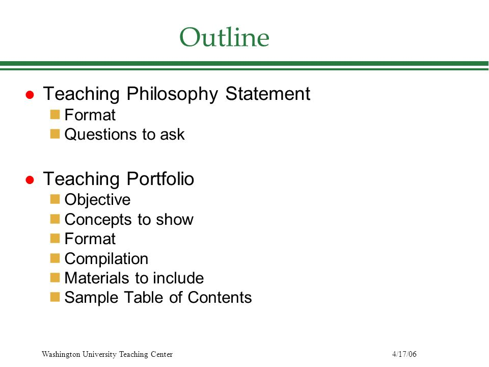 writing a teaching philosophy outline