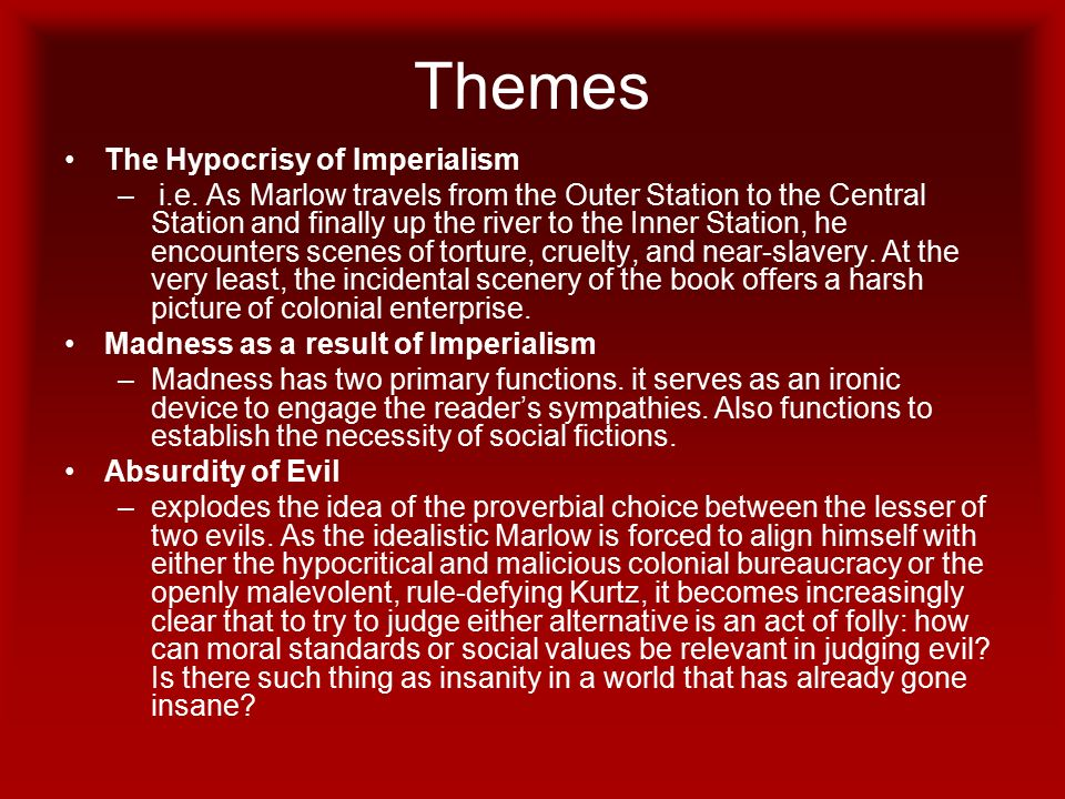 the hypocrisy of imperialism in heart of darkness essay