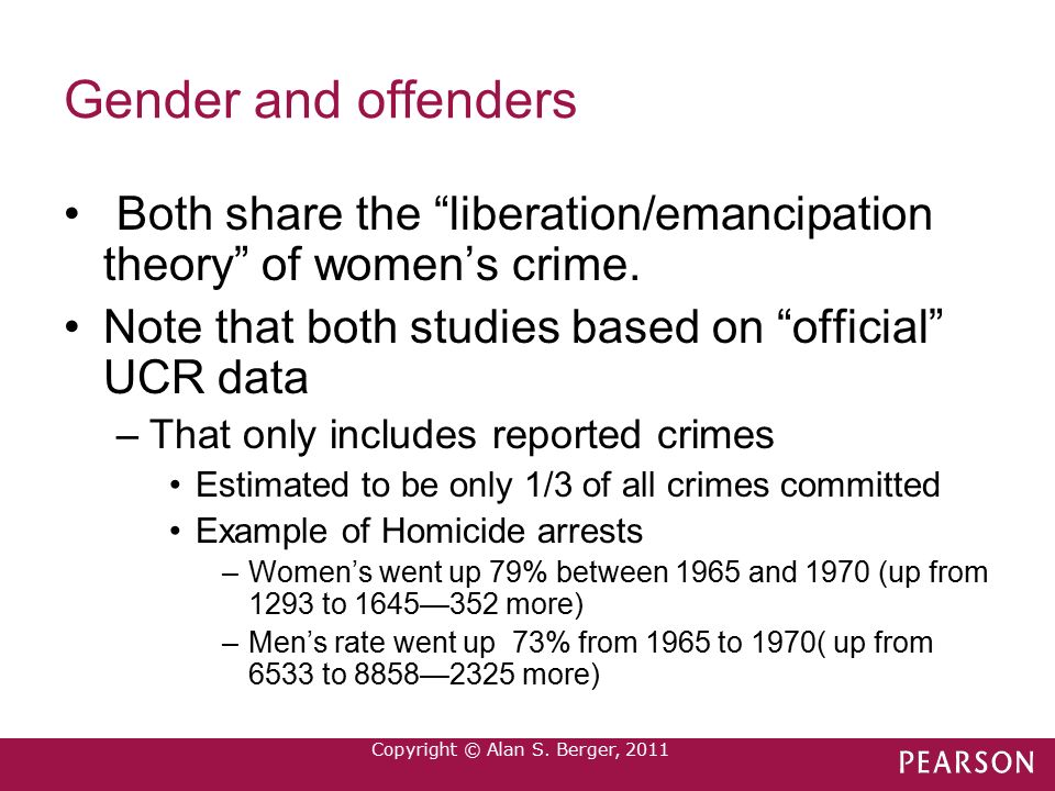 theories of crime and gender Gender, crime, and the criminal law defenses  for the gender disparity in crime may help account for the underlying  the gender gap in theories of deviance.