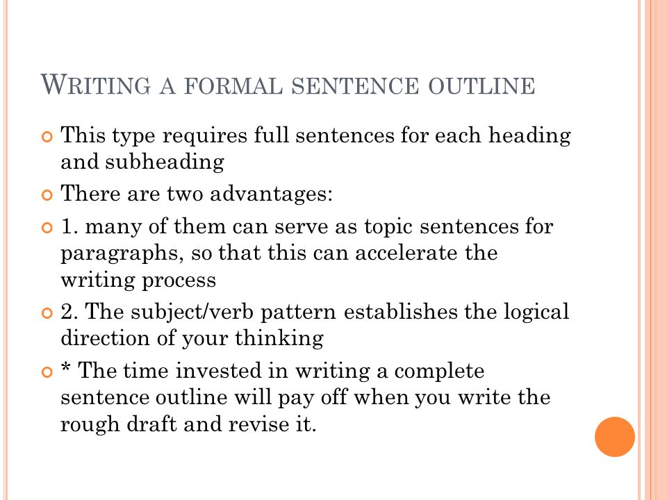 difference between topic outline and sentence outline