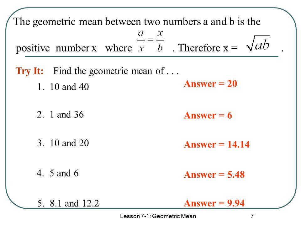 Geometric mean worksheet answers 8 1