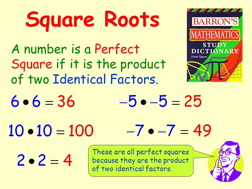 Square Roots A number is a Perfect Square if it is the product of two Identical Factors.