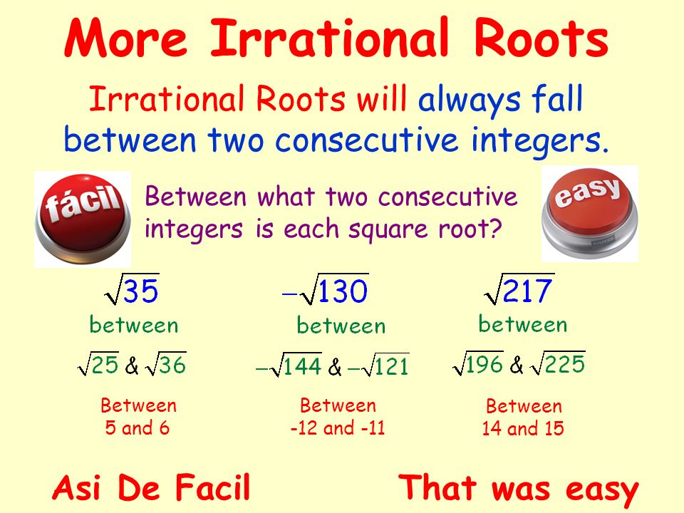 Irrational Roots will always fall between two consecutive integers.