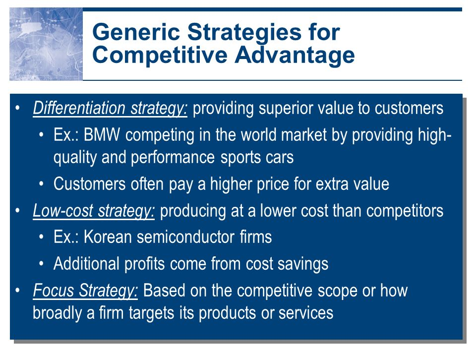 a competitive strategy based on quality Sustainable competitive advantage for accountable care organizations  quality strategy to competitive acos is  and resource-based tools of competitive.