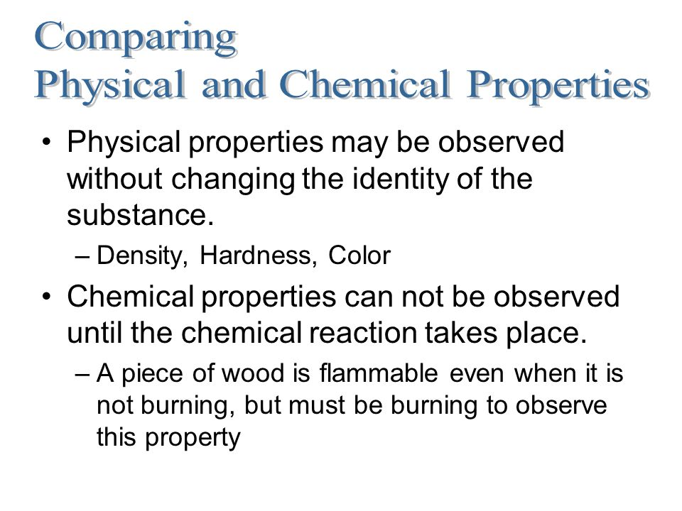 chemicals and properties How can the answer be improved.