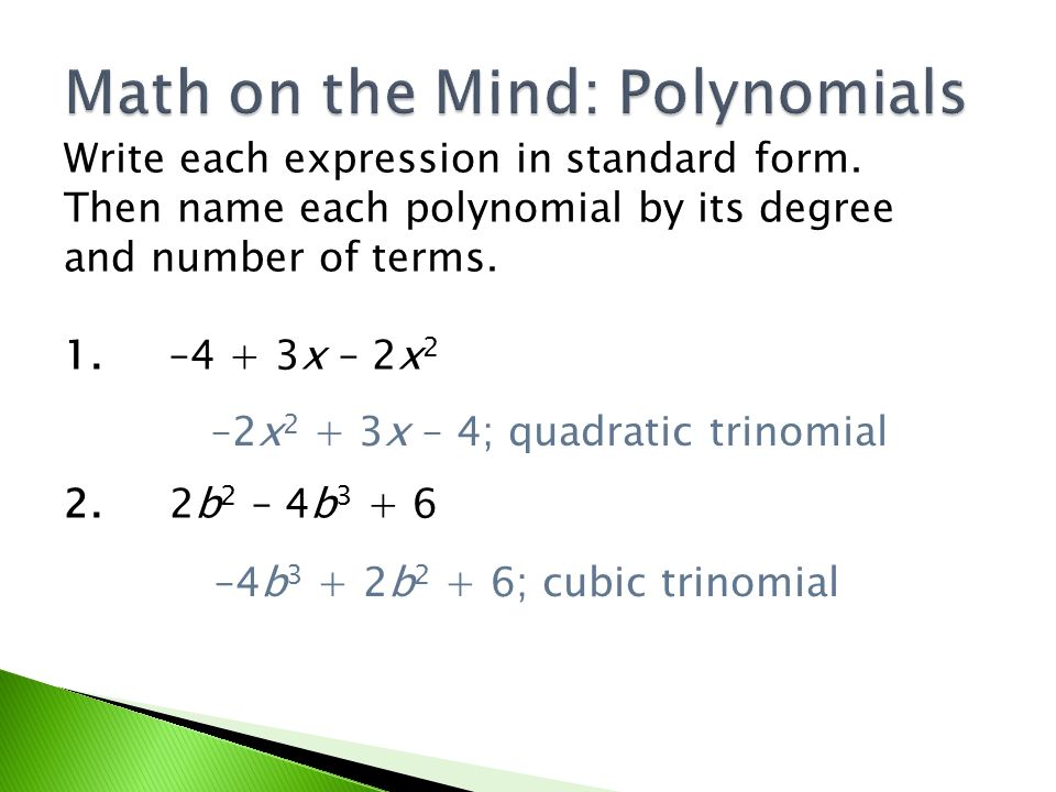 Math On The Mind Polynomials Ppt Download