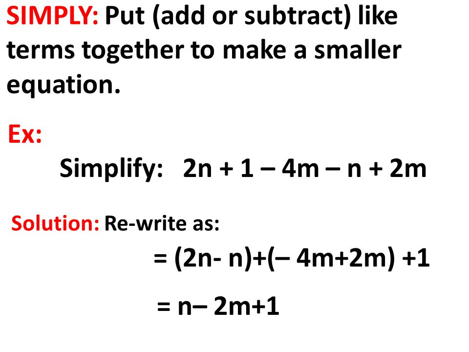 how to add subtract like terms