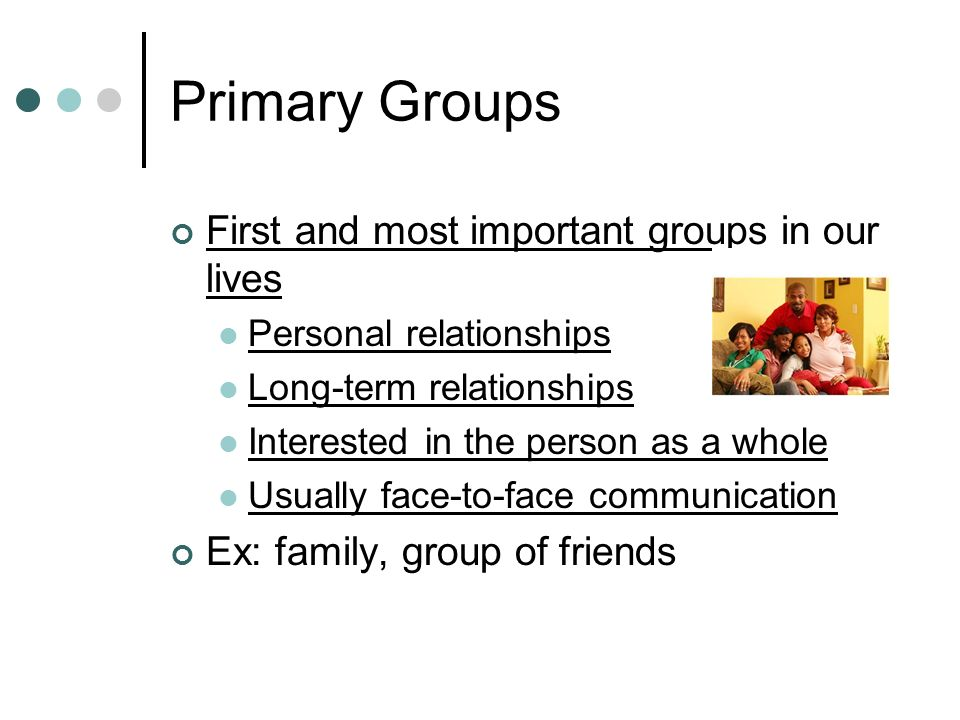 Primary group and secondary group