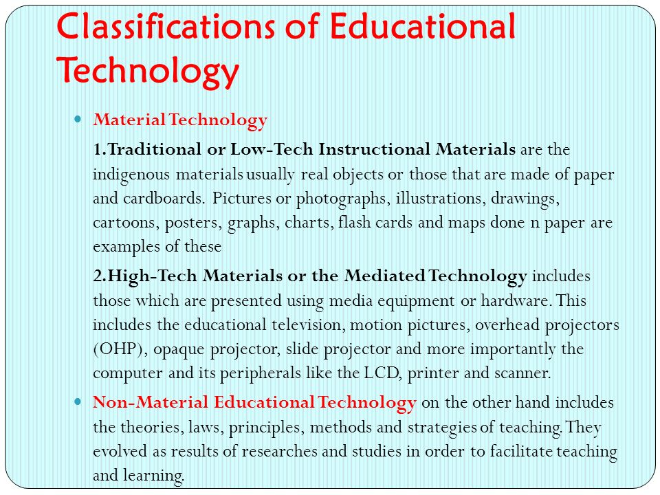 Classifications of Educational Technology