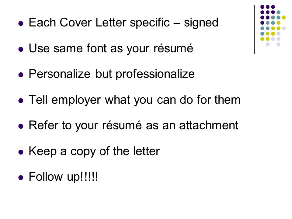 signed cover letter