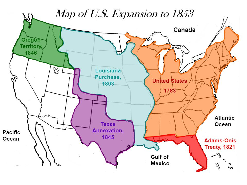 Map Of U S Expansion To 1853 Canada Oregon Territory 1846