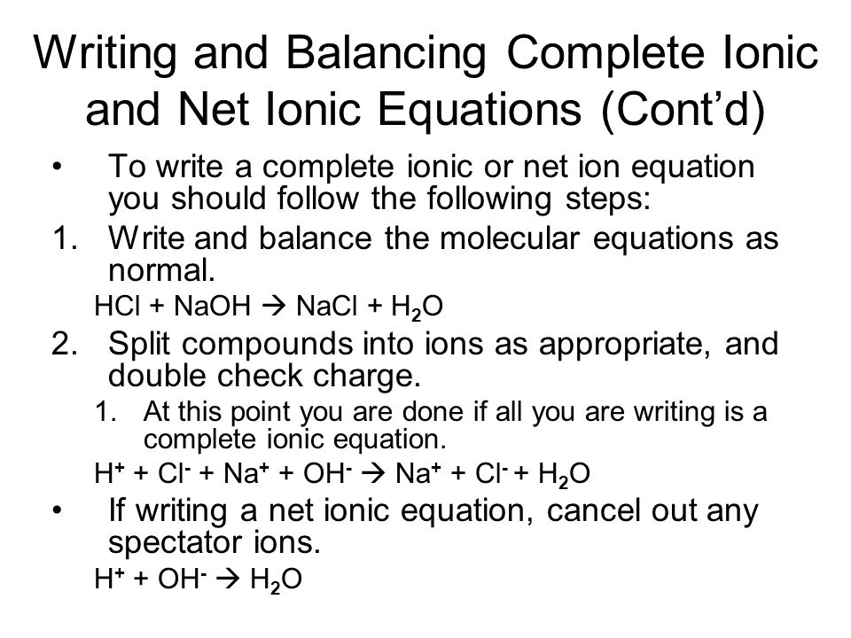 writing ionic equations for redox reactions 30 writing redox equati ons : half-equation method comparing different methods for balancing redox equations: if the objective is simply to balance an equation, and the equation can be balanced easily by.