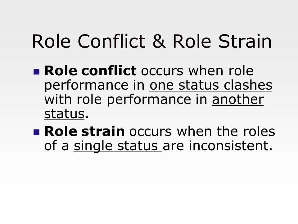 Role Conflict & Role Strain