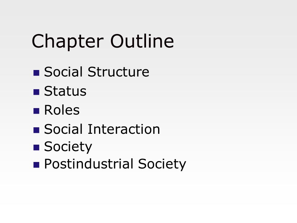 Chapter Outline Social Structure Status Roles Social Interaction