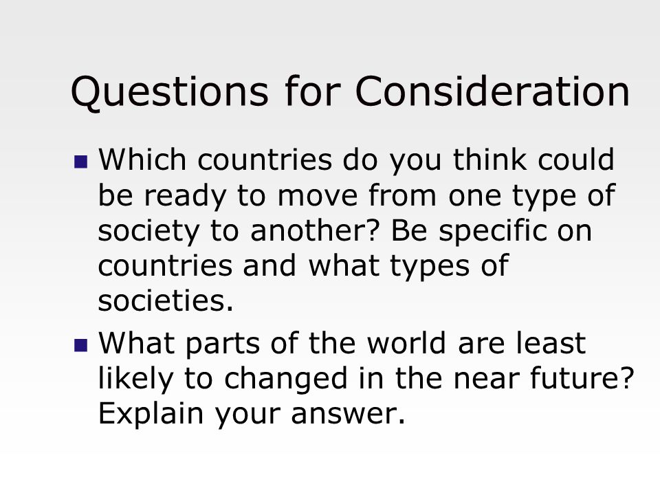 Questions for Consideration