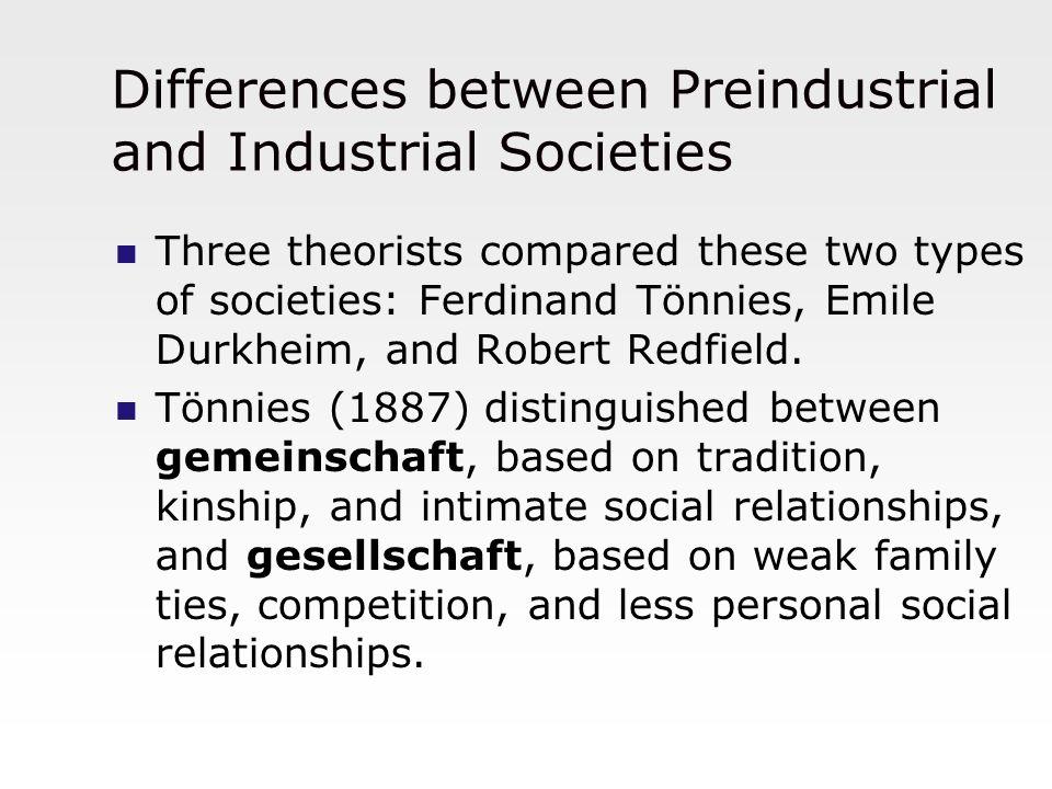 Differences between Preindustrial and Industrial Societies