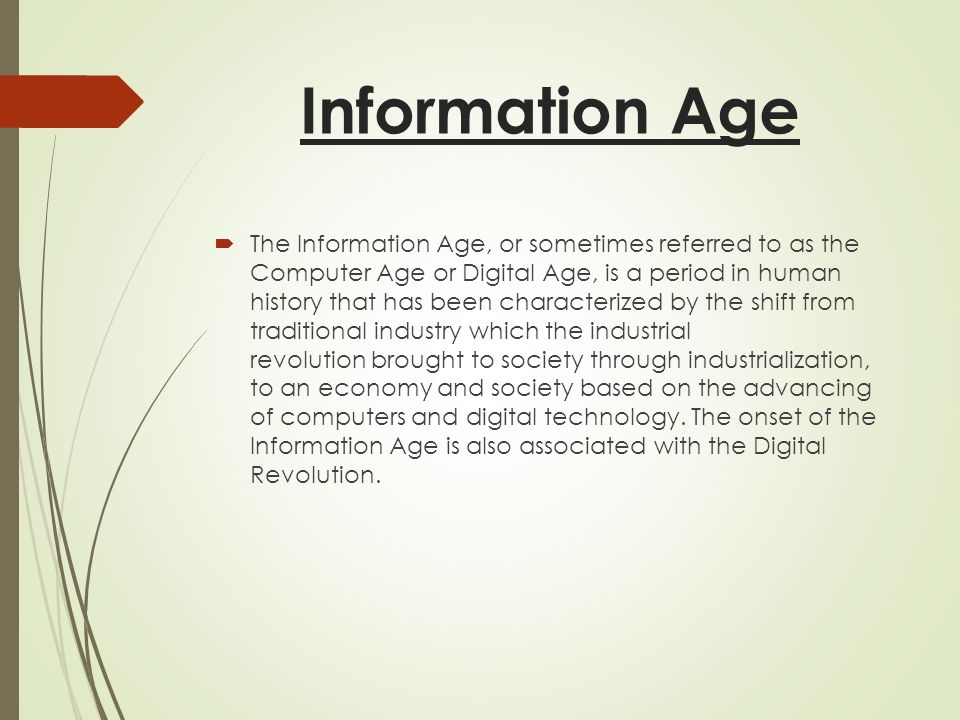 a comparison of industrial era and information era The industrial revolution is the term used for the period between 18th and 19th centuries when predominantly rural and agricultural areas in europe and america became urban and industrialized click for more kids facts and information or download the worksheet collection.