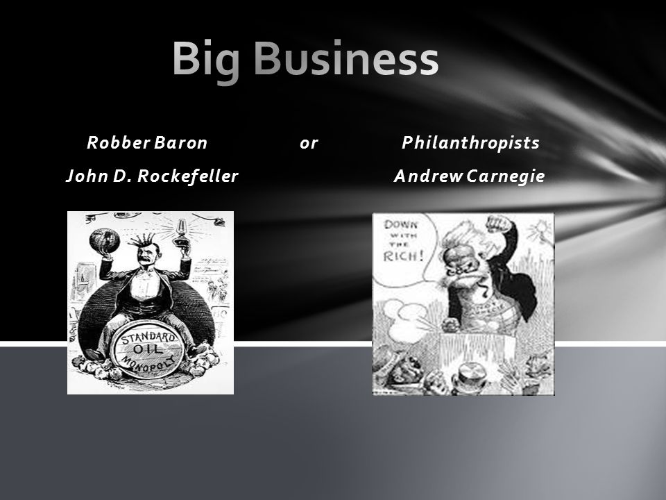 robber baron and business men Edited from the history channel special, the men who built america focuses on the rise of cornelius vanderbilt (shipping and railroads), john d rockefeller (oil), andrew carnegie (steel), and.
