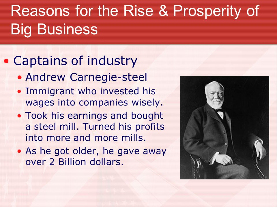 a review of andrew carnegies the rise of big business Bashar ibraheem professor stephen dice hist 1302 july 26, 2016 book review andrew carnegie and the race of big andrew carnegie and the rise of big business.
