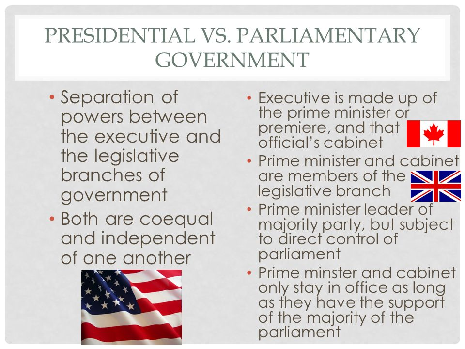 Parliamentary government versus presidential government