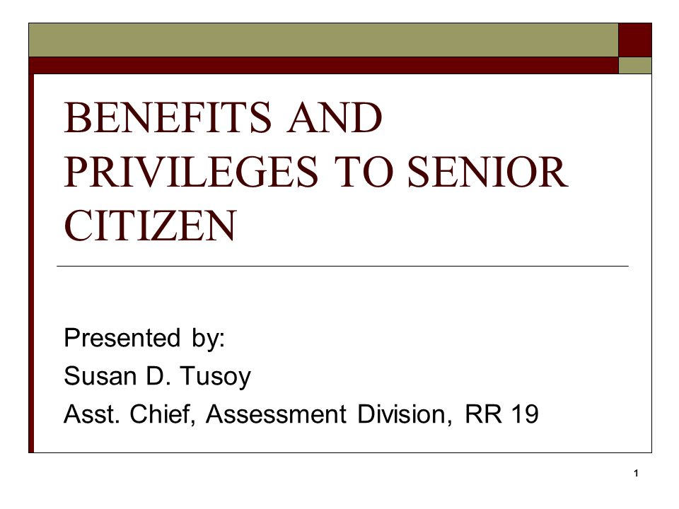 privileges of a senior citizen essay Republic act no 9257 an act granting additional benefits and privileges to senior citizens amending for the senior citizen shall be treated as dependents.