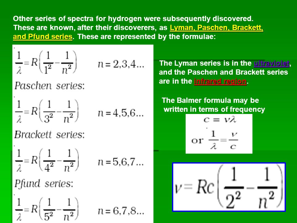 The wavelengths of the Lyman series for hydrogen are given by -1),n