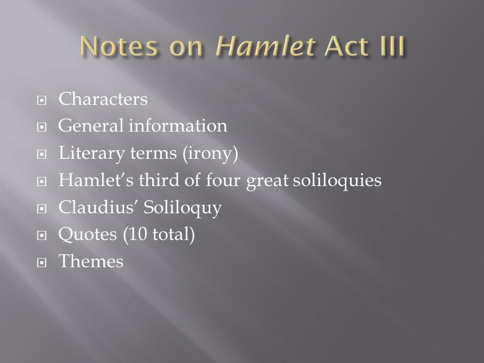 Hamlet's Fifth Soliloquy - Original Text and Summary