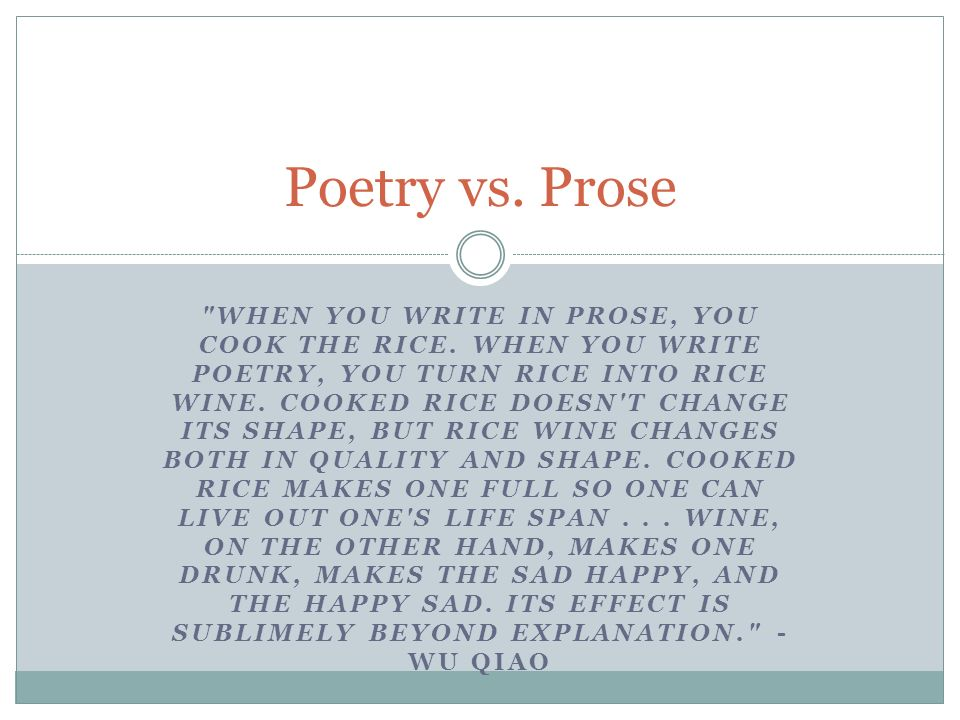 writing in prose