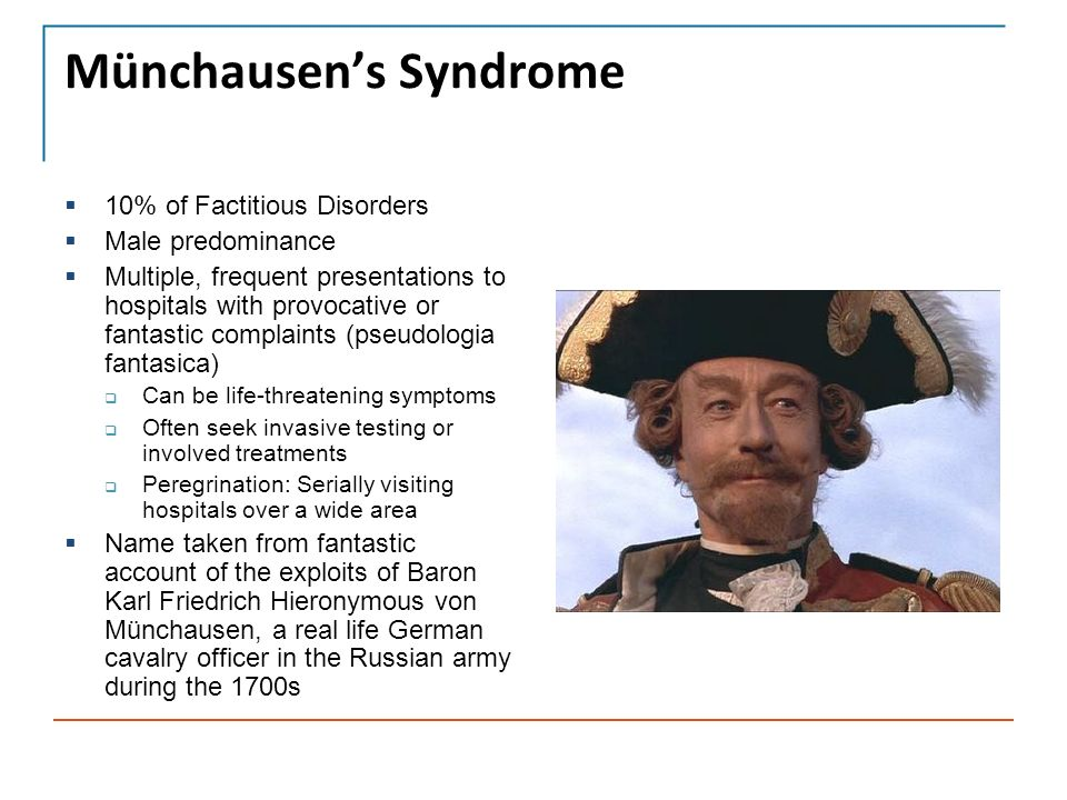 münchausen syndrome We describe five patients with hematologic munchausen syndrome who were  discovered within 5 years the patients presented for hematologic evaluation of.