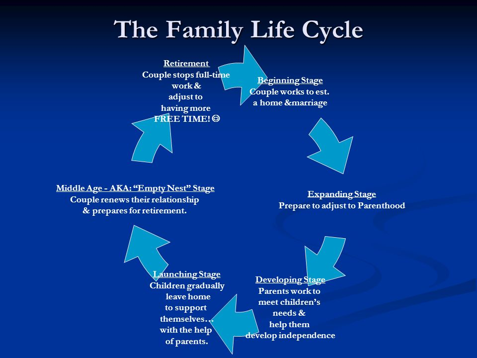 stages of family life cycle Unit 5: family structure and life cycle   • describe the stages of the family life cycle • evaluate the impact of each stage on the individual, fami ly and .